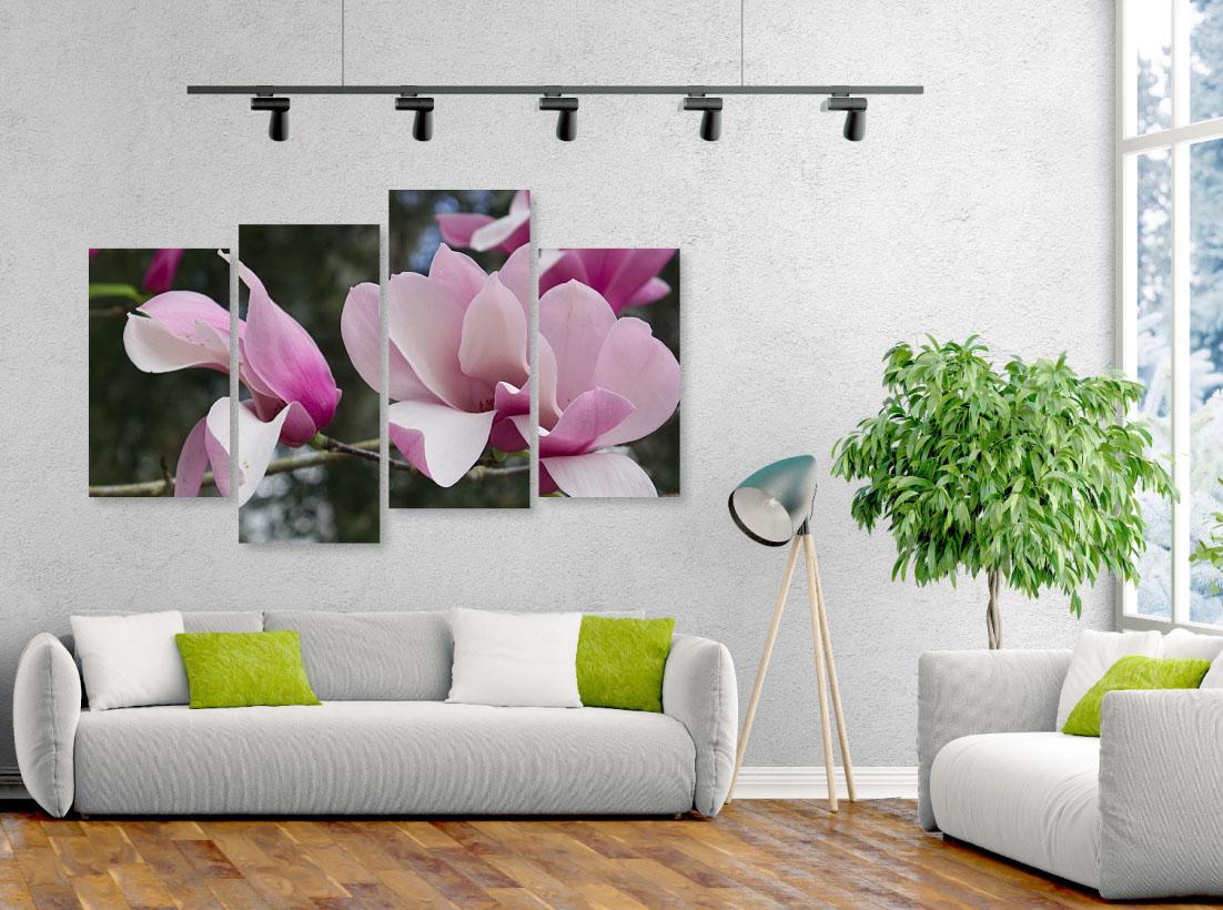 Tablou cu 4 piese Magnolie roz - Pepanza.ro