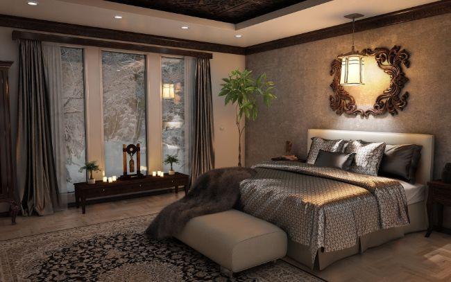 1. Poziționarea patului - pat culori neutre