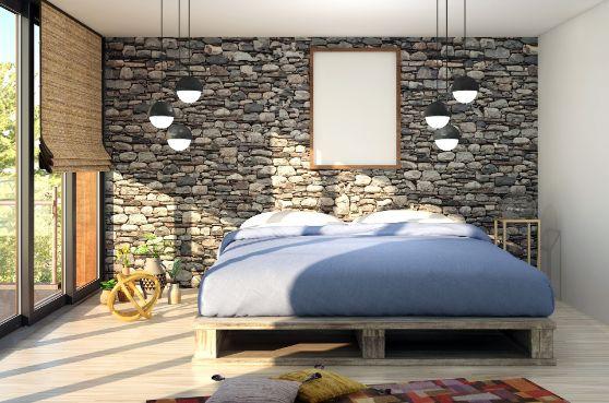 Pozitionarea patului - pat albastru