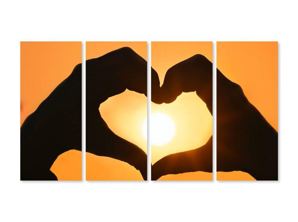 Tablou cu 4 piese Inimă Apus de Soare