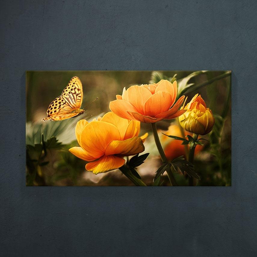 tablou canvas flori portocaliu-min