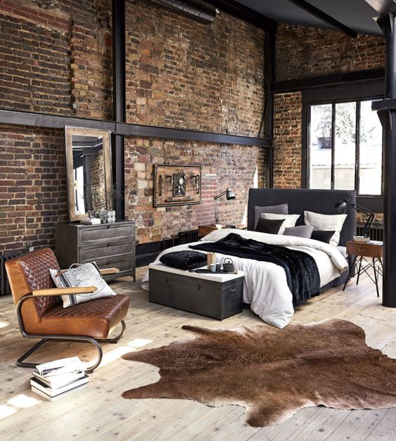 Dormitor decorat industrial