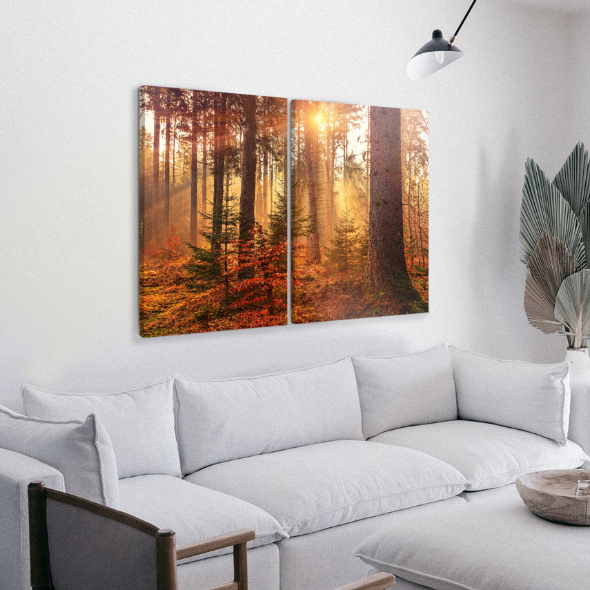 Tablou cu 2 piese Peisaj Tomnatic cu Padure - Pepanza.ro