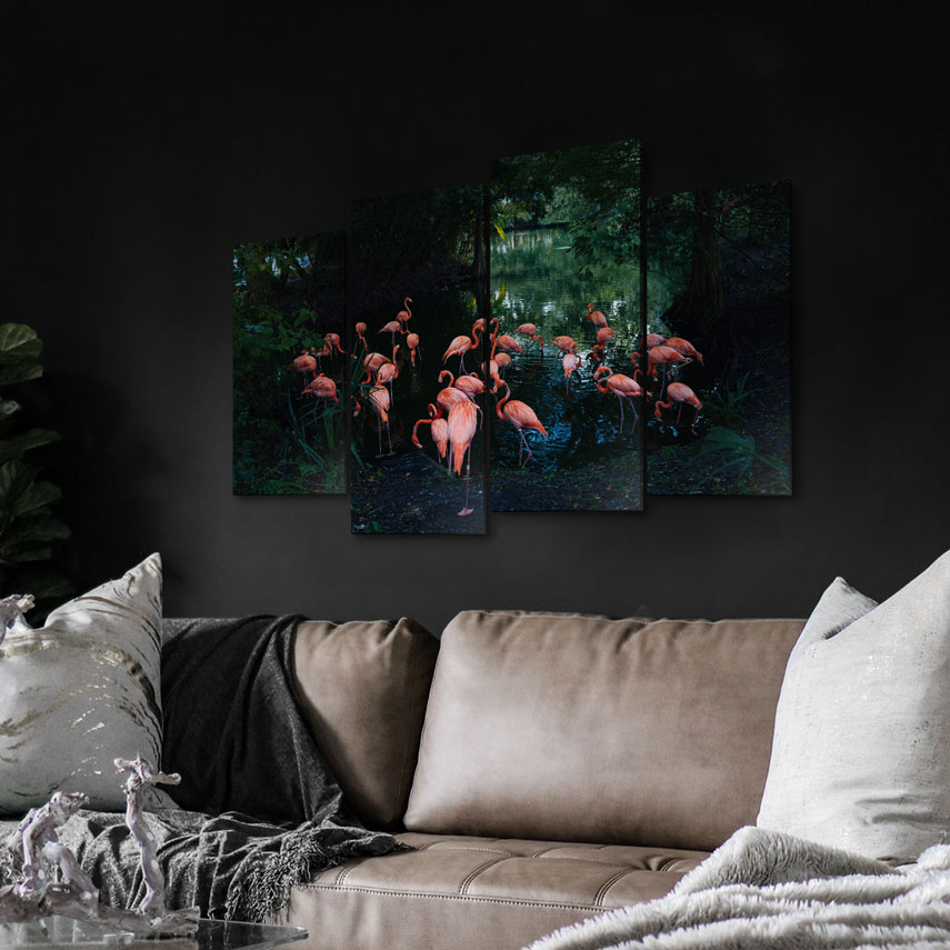 Tablou cu 4 piese Flamingo - Pepanza.ro