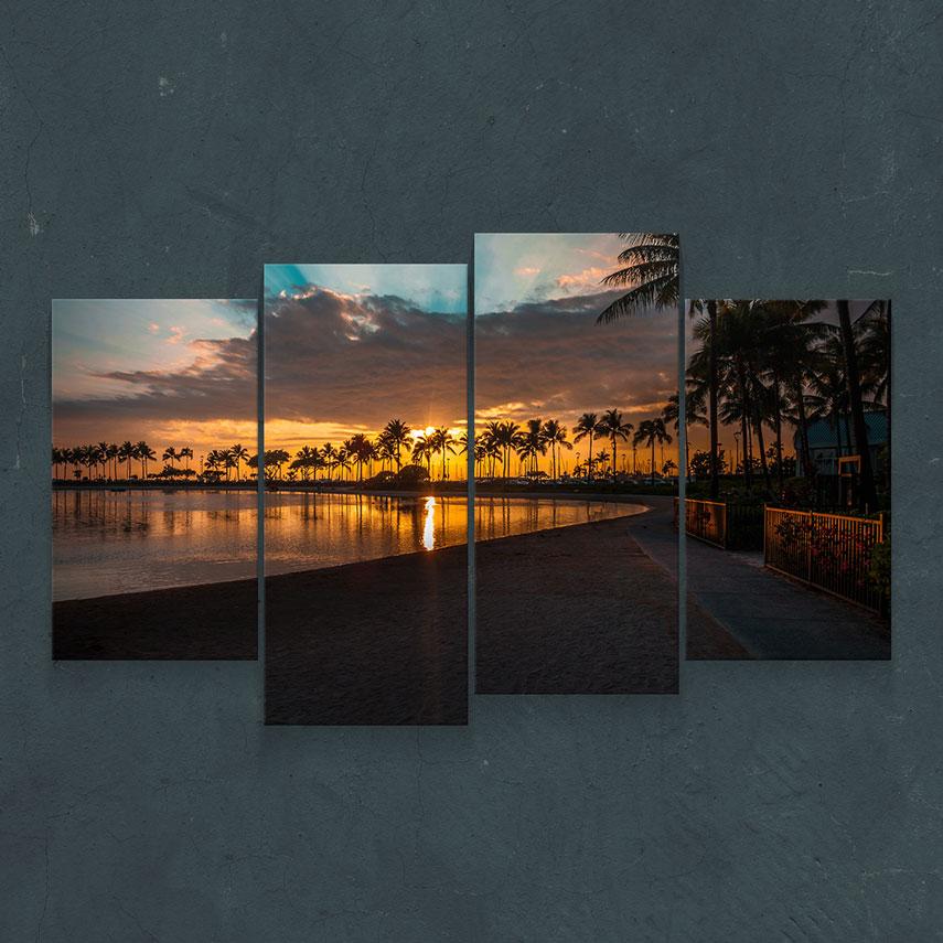 Tablou cu 4 piese Peisaj Apus de Soare - Pepanza.ro