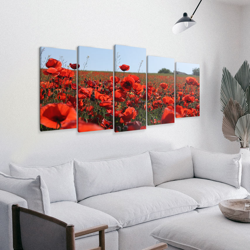 Tablou cu 5 piese Flori de Mac - Pepanza.ro