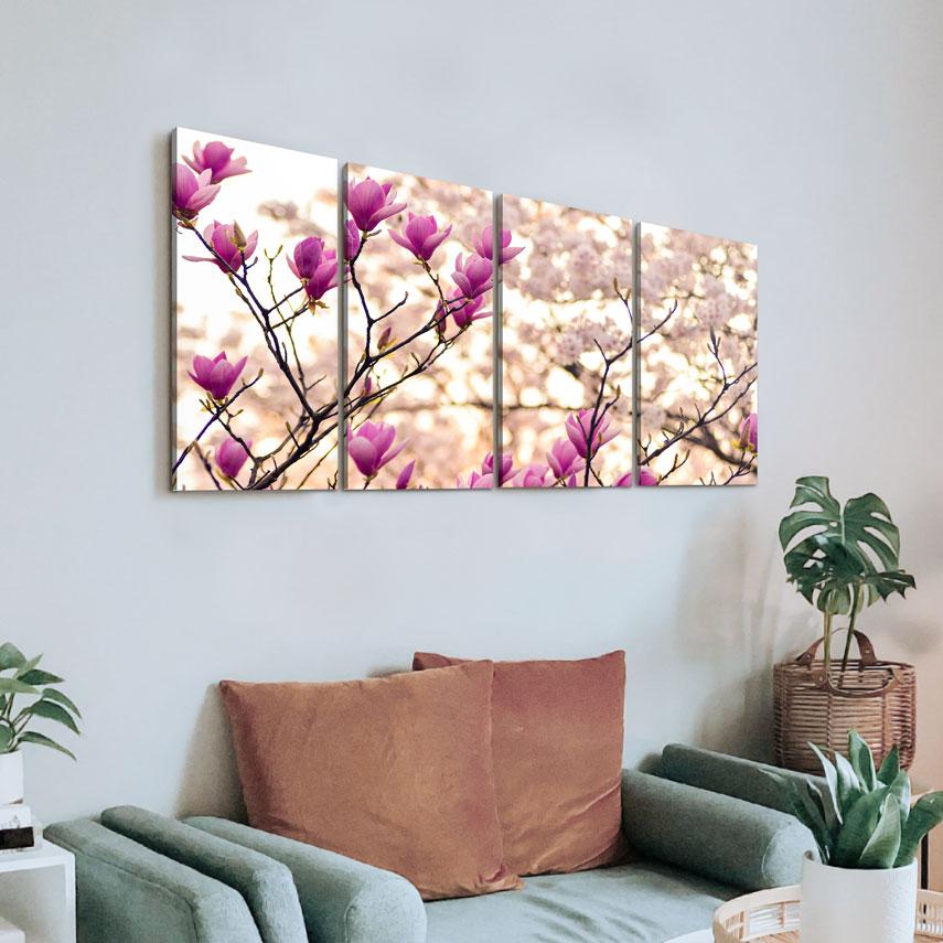 Tablou cu 4 piese Flori de Magnolie - Pepanza.ro
