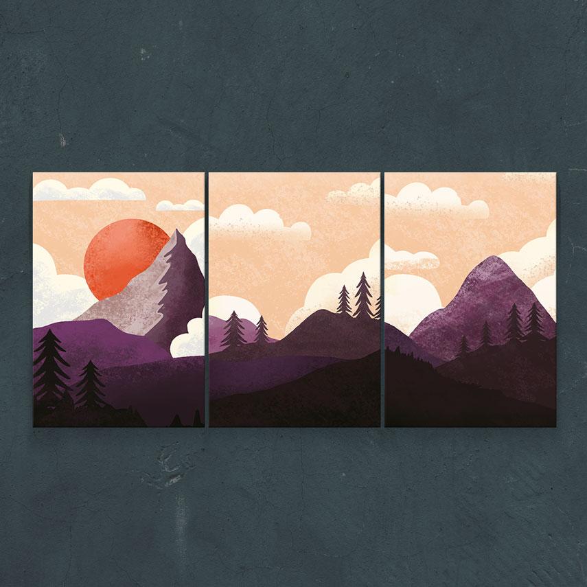Purple landscape 3 piese- Pepanza.ro