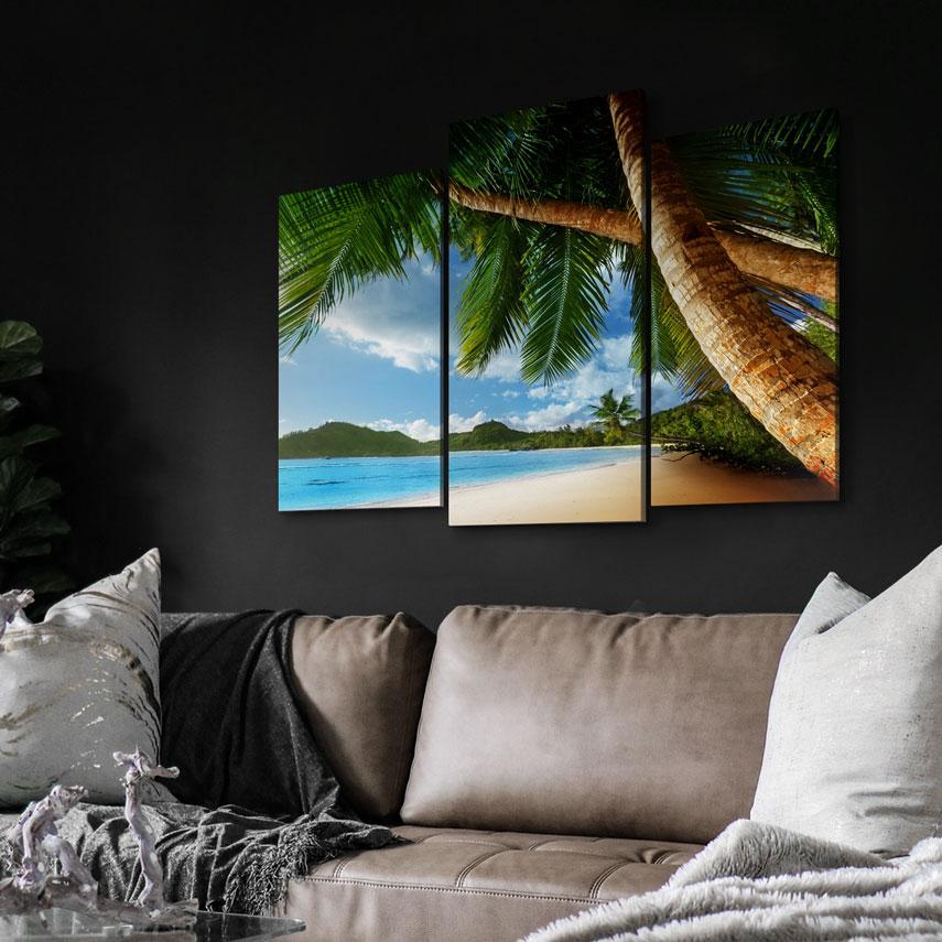 Tablou cu 3 piese Peisaj de Vară pe Plajă - Pepanza.ro