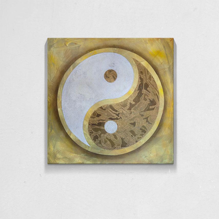 Gold Yin si Yang- Pepanza.ro