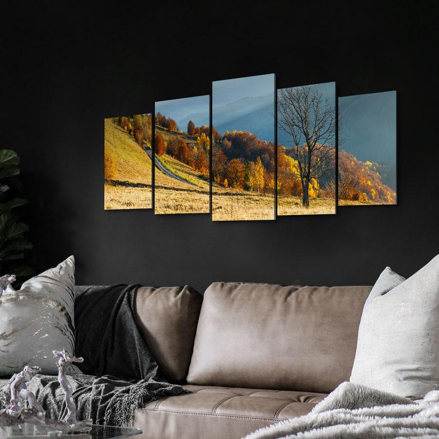 Tablou cu 5 piese Peisaj de Toamnă cu Copaci - Pepanza.ro