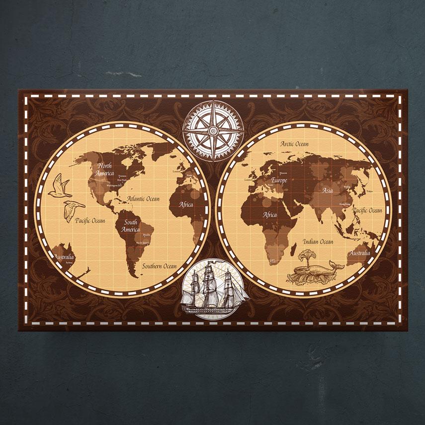 Retro world map- Pepanza.ro