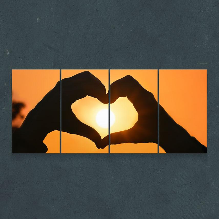 Tablou cu 4 piese Inimă Apus de Soare - Pepanza.ro