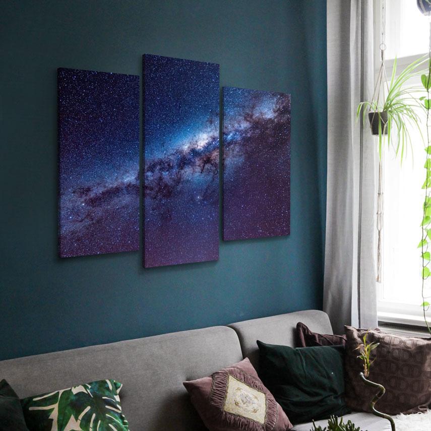 Tablou cu 3 piese Galaxie mov - Pepanza.ro